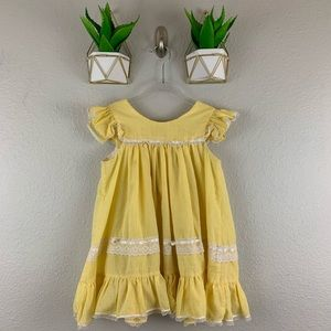 Vintage Girls Dress Yellow Lace Checkered Boho